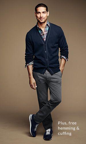 Light blue plaid button shirt, grey slacks, navy blue cardigan ...