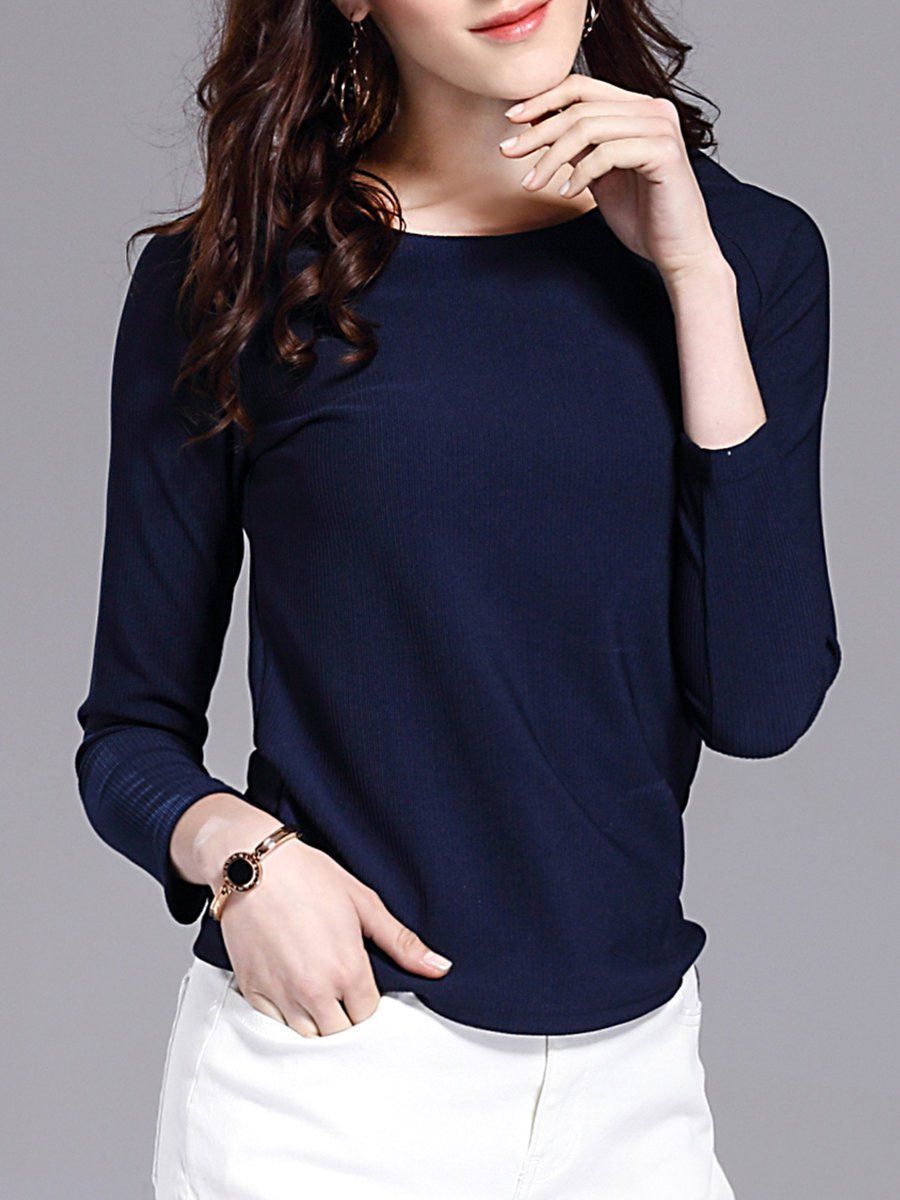 Adorewe stylewe long sleeved tops designer xy funs solid long