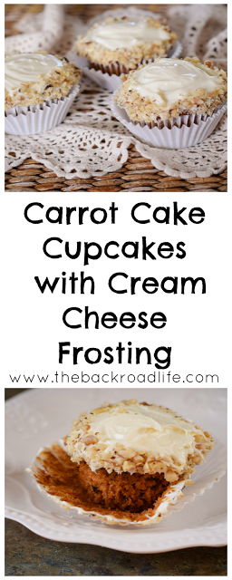 Simple and delicious Carrot Cake cupcakes with cream cheese frosting. Using applesauce to make them super moist!