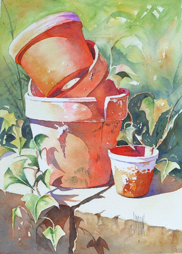 Empilage De Pots De Terre Peinture Fleurs Dessin Aquarelle