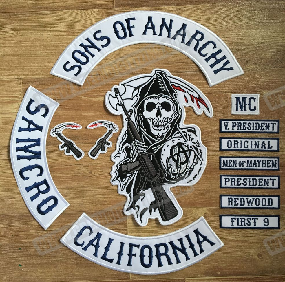 2015 Original Son Of Anarchy Jacket Back Embroidered Patch Motorcycle Biker Club Patch 35cm Full Back S Sons Of Anarchy Vest Biker Vest Patches Sons Of Anarchy