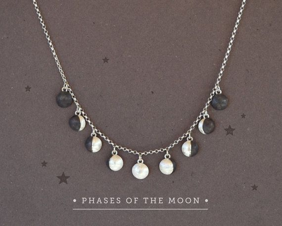 Are you a lover of the moon? You can have them all in one necklace, next to your heart!  ☞ Materials> Sterling Silver 925 Moon Charms, Sterling