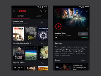 Netflix   android UI kit   Netflix app, Mobile app ui, App
