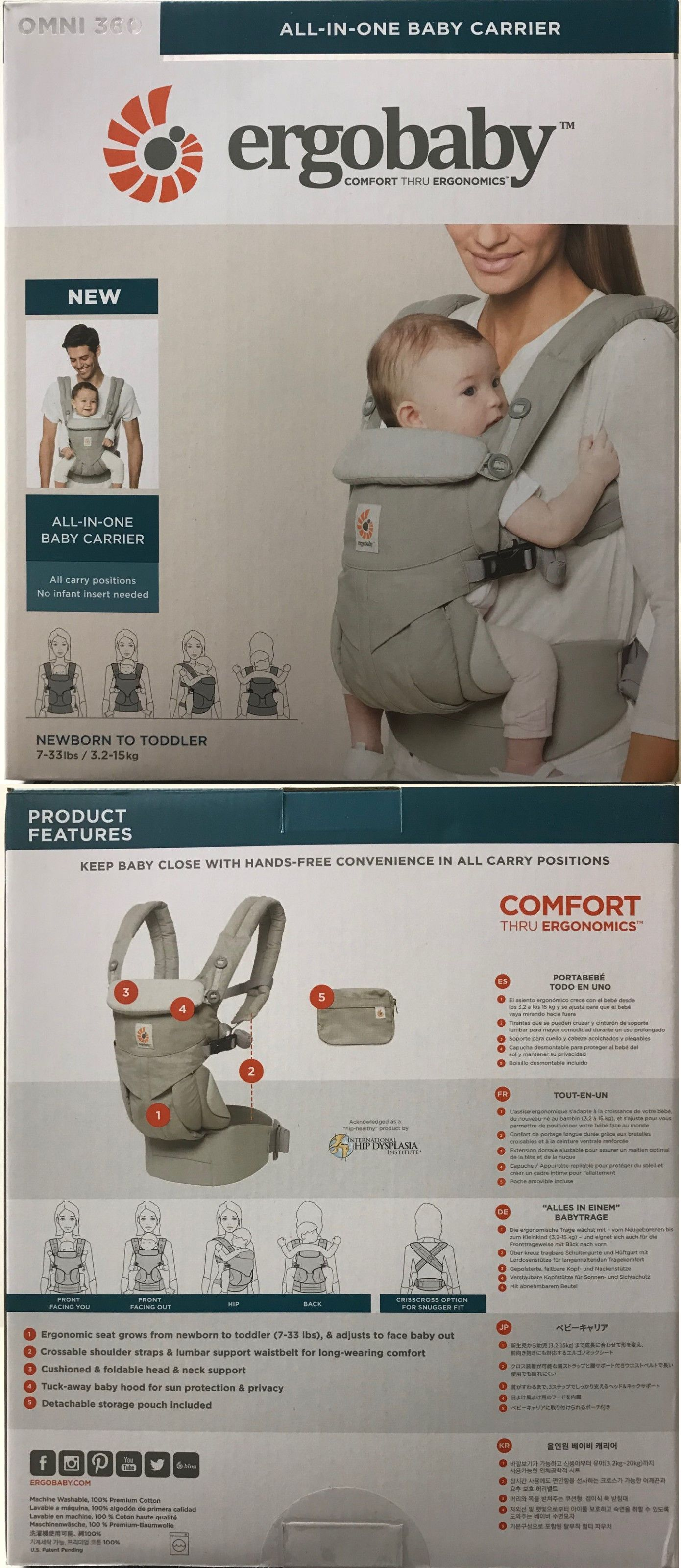 3d838c005b2 Carriers Slings and Backpacks 100982  Ergobaby Omni 360 4 Position Infant Child  Baby Carrier Pearl Grey New Authentic -  BUY IT NOW ONLY   144 on eBay!