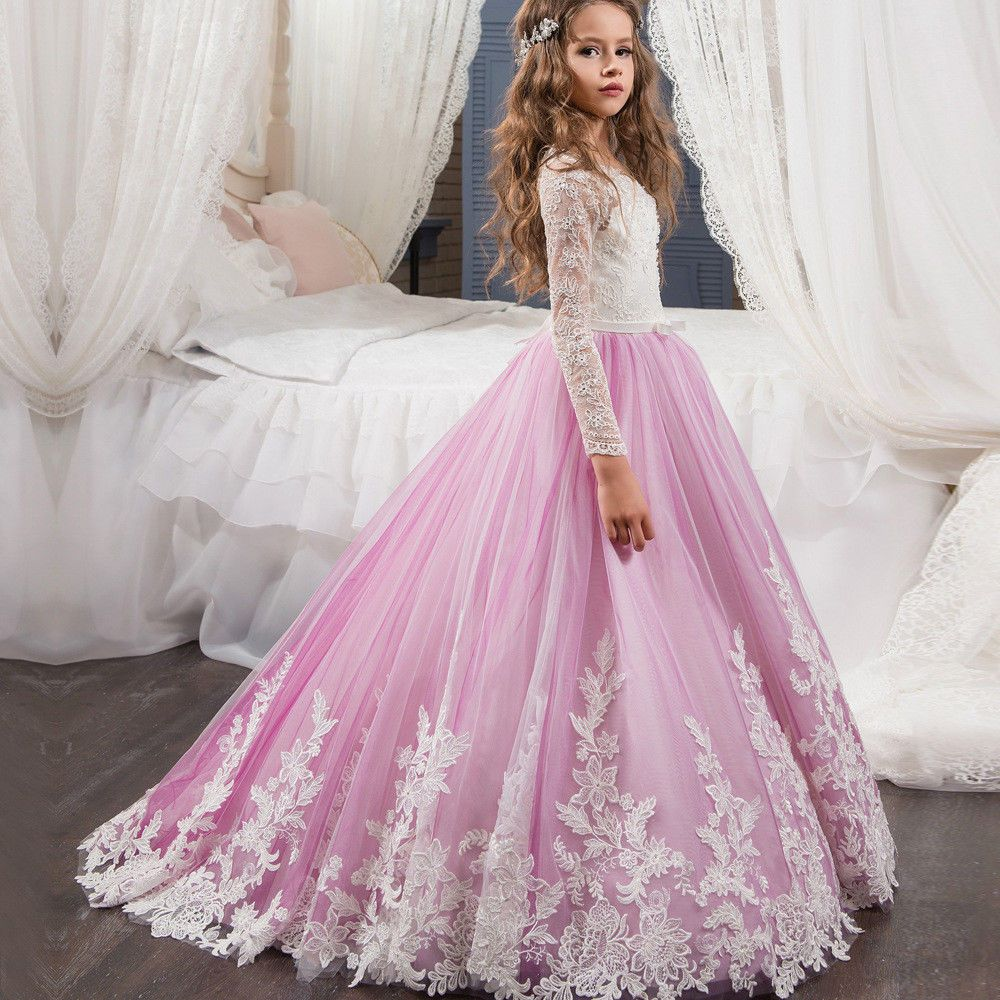ABAO Children/'s Girls/' Pink Lace Multi-Layer Ball Gown Bridesmaid Pageant Dress