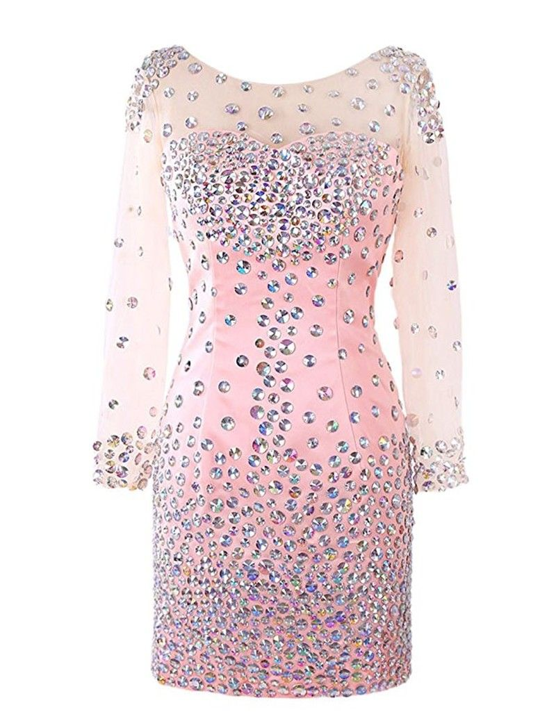 Vestidos Para Formatura Long Sleeve Homecoming Dresses Crystals Sexy ...