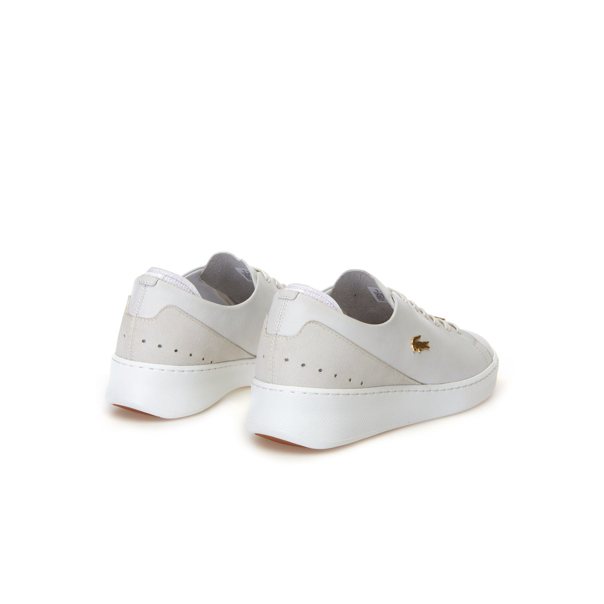 b7520456c73c Lacoste Women S Eyyla Leather And Suede Trainers - Natural Light Pink 10.5