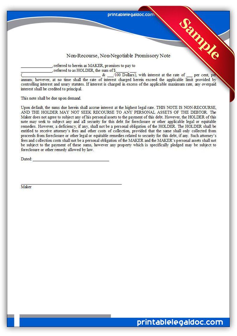 Free Printable Note Non Recourse Non Negotiable Form Generic