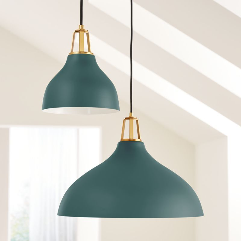 Shop Maddox Teal Bell Pendant With Brass Socket Our Maddox