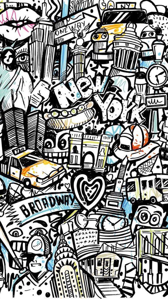 New York Graffiti Background Graffiti doodles, Graffiti