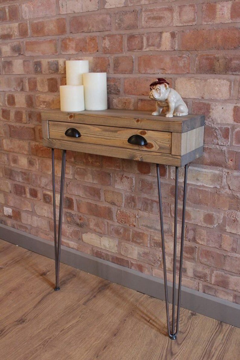 Narrow Industrial Reclaimed Style Console Table, Hall