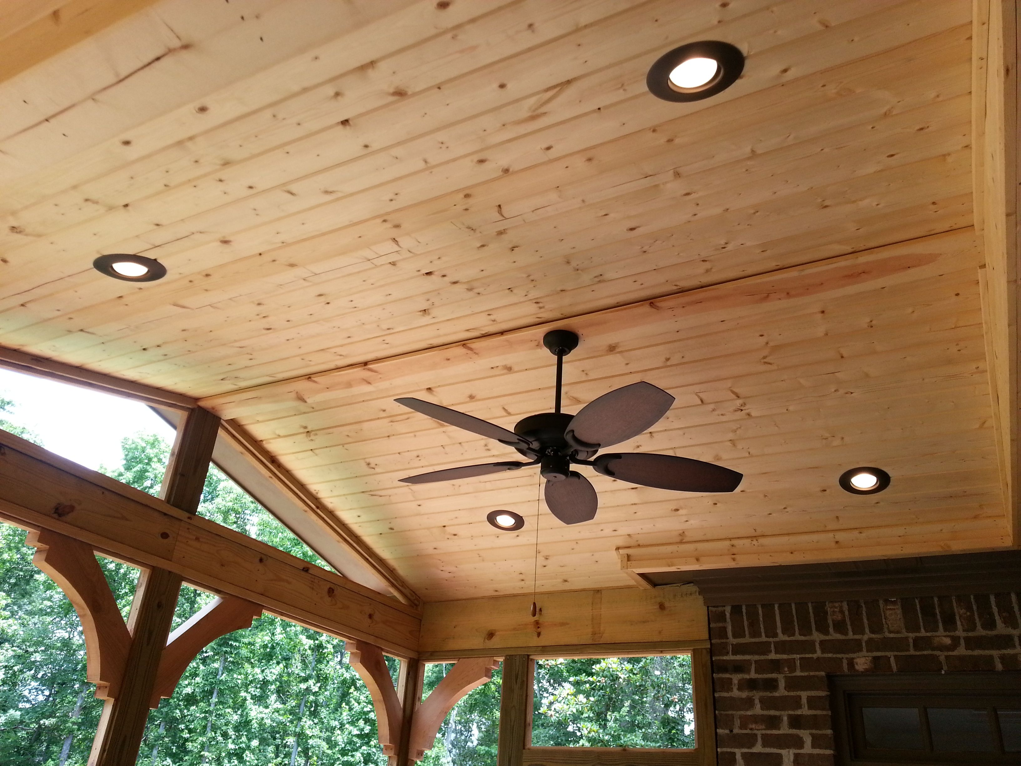 finished ceiling with ceiling fan and can lights design ideas archadeck - Patio Ceiling Lighting Ideas
