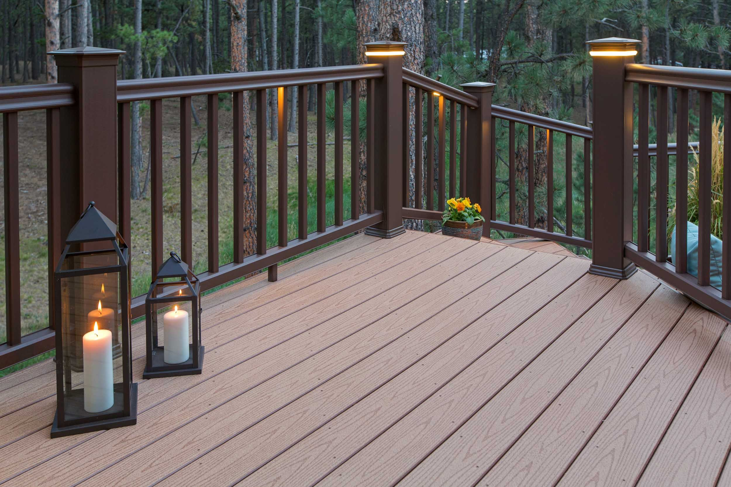 Stunning Timbertech Reliaboard Cedar Decking With Radiancerail In Traditional Walnut