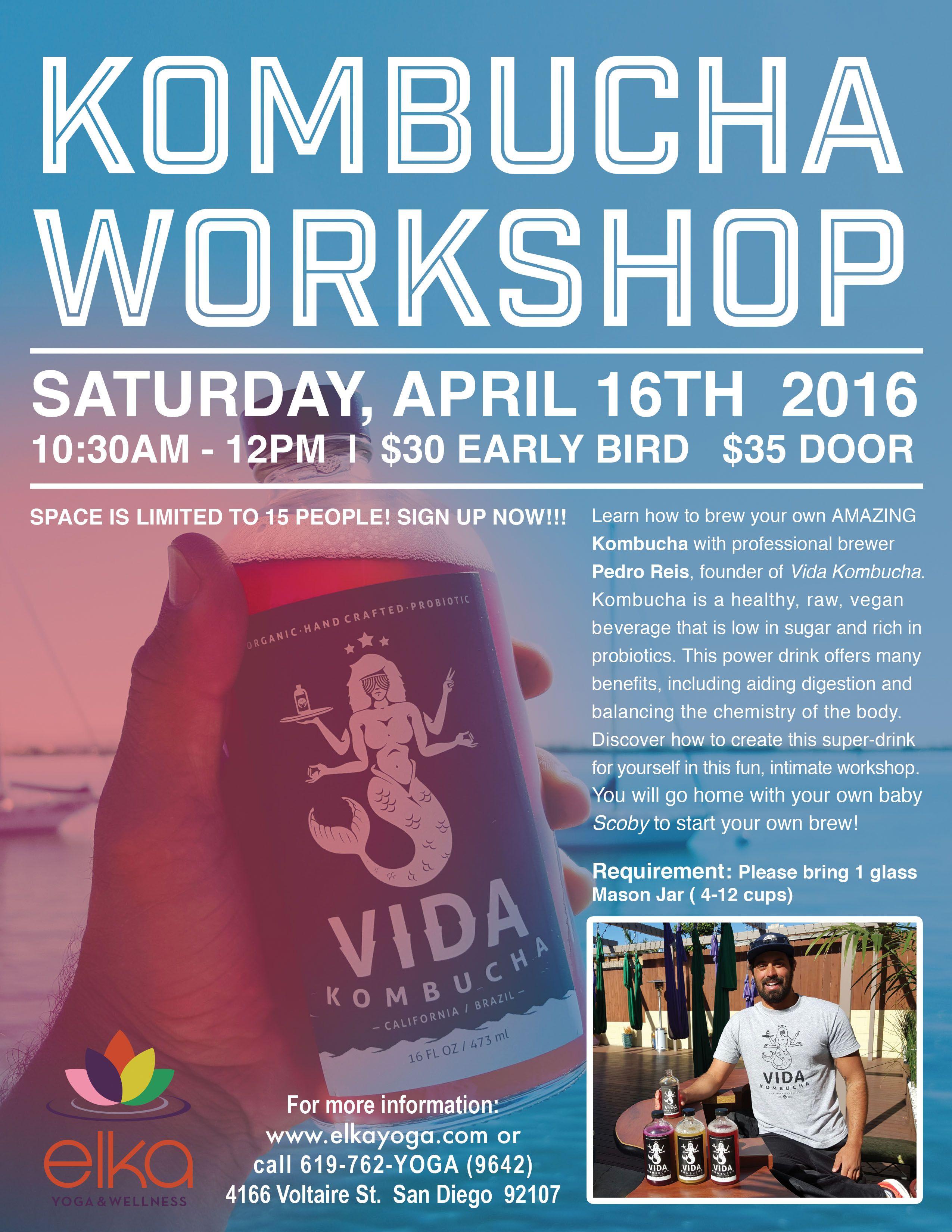 Kombucha Workshop Flyer Design by Camila Badaro. Client Elka Yoga ...