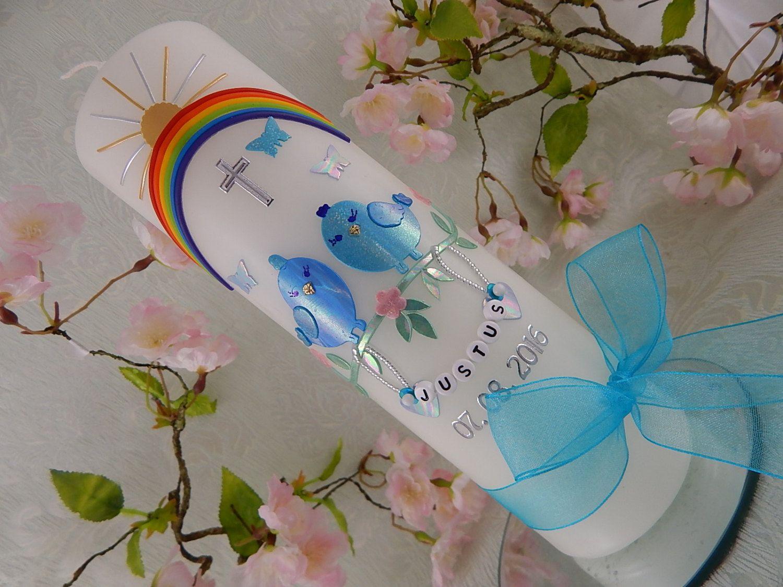 Kommunionkerze Taufkerze Junge Mädchen Engel blau