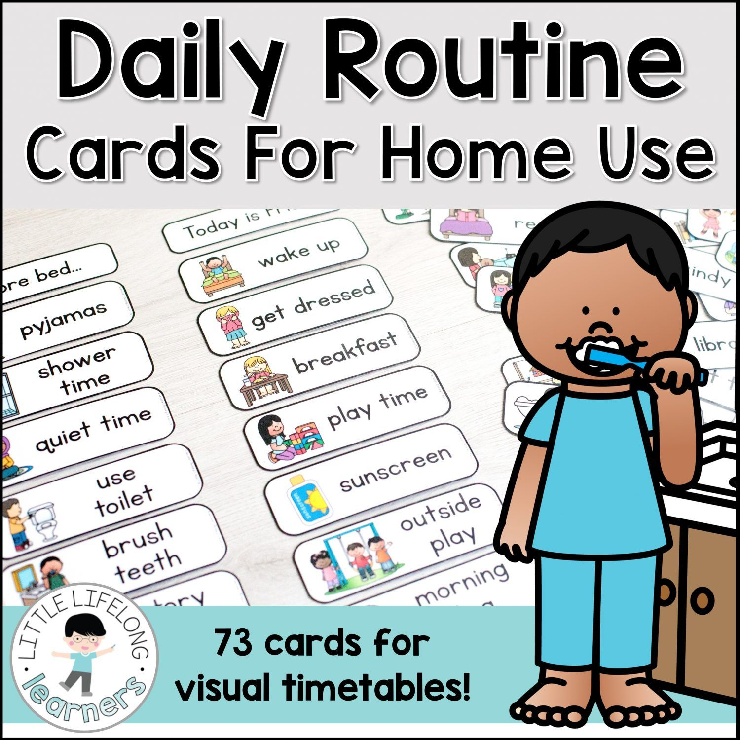 Daily Routine Cards Little Lifelong Learners Routine Cards Daily Routine Chart For Kids Preschool Routine