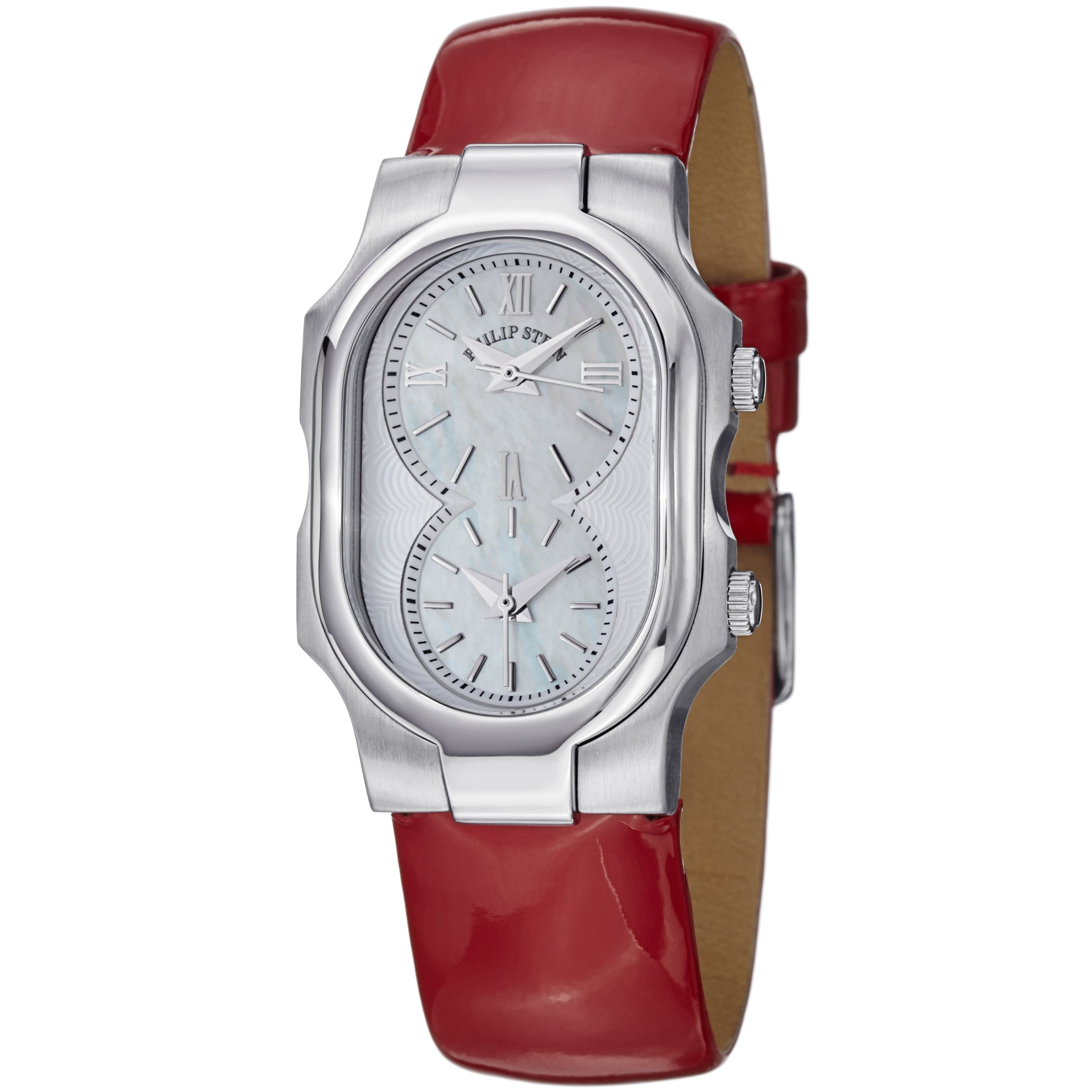 leather save silver guess view lyst fullscreen tone watches in red watch and logo accessories
