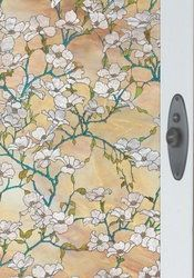 Dogwood Stained Glass Window Film Non Adhesive Static Cling Film