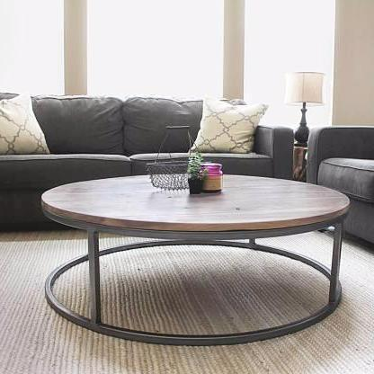 Round Walnut Wood And Metal Coffee Table Round Wood Coffee Table