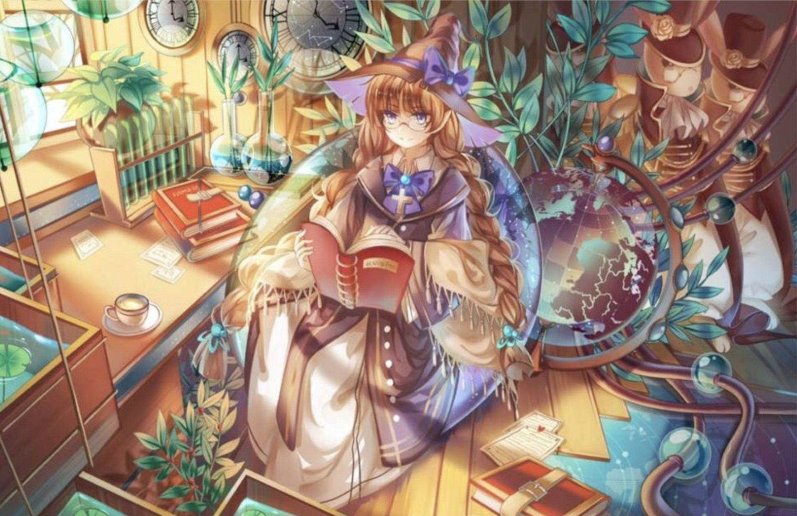 Anime wizard reading probably wizard manga anime art