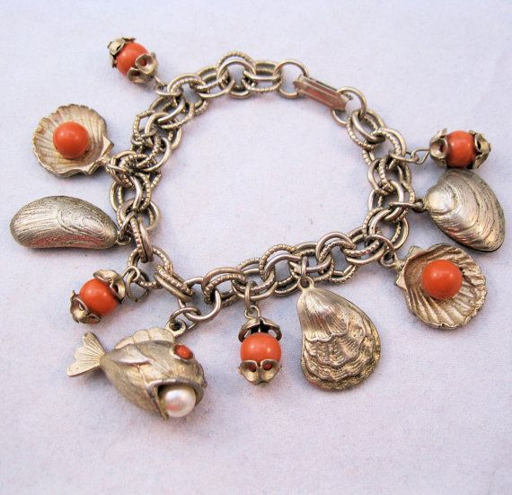 1960s Sea Shell Fish Ocean Theme Charm by BrightEyesTreasures, $29.00