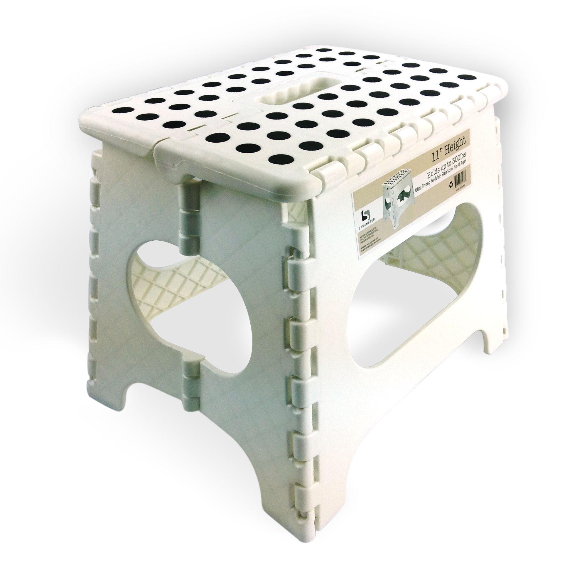 Terrific Spranster White Folding Step Stool 11 High The Pabps2019 Chair Design Images Pabps2019Com