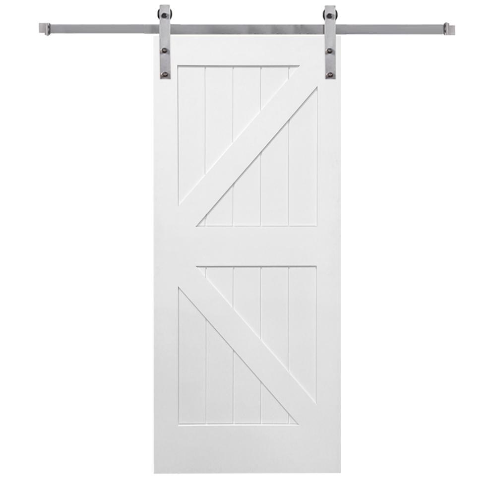 Mmi Door 42 In X 84 In Primed K Plank Mdf Sliding Barn Door With Hardware Kit Z0341685 Garage Door Design Barn Door Installation Barn Door Kit