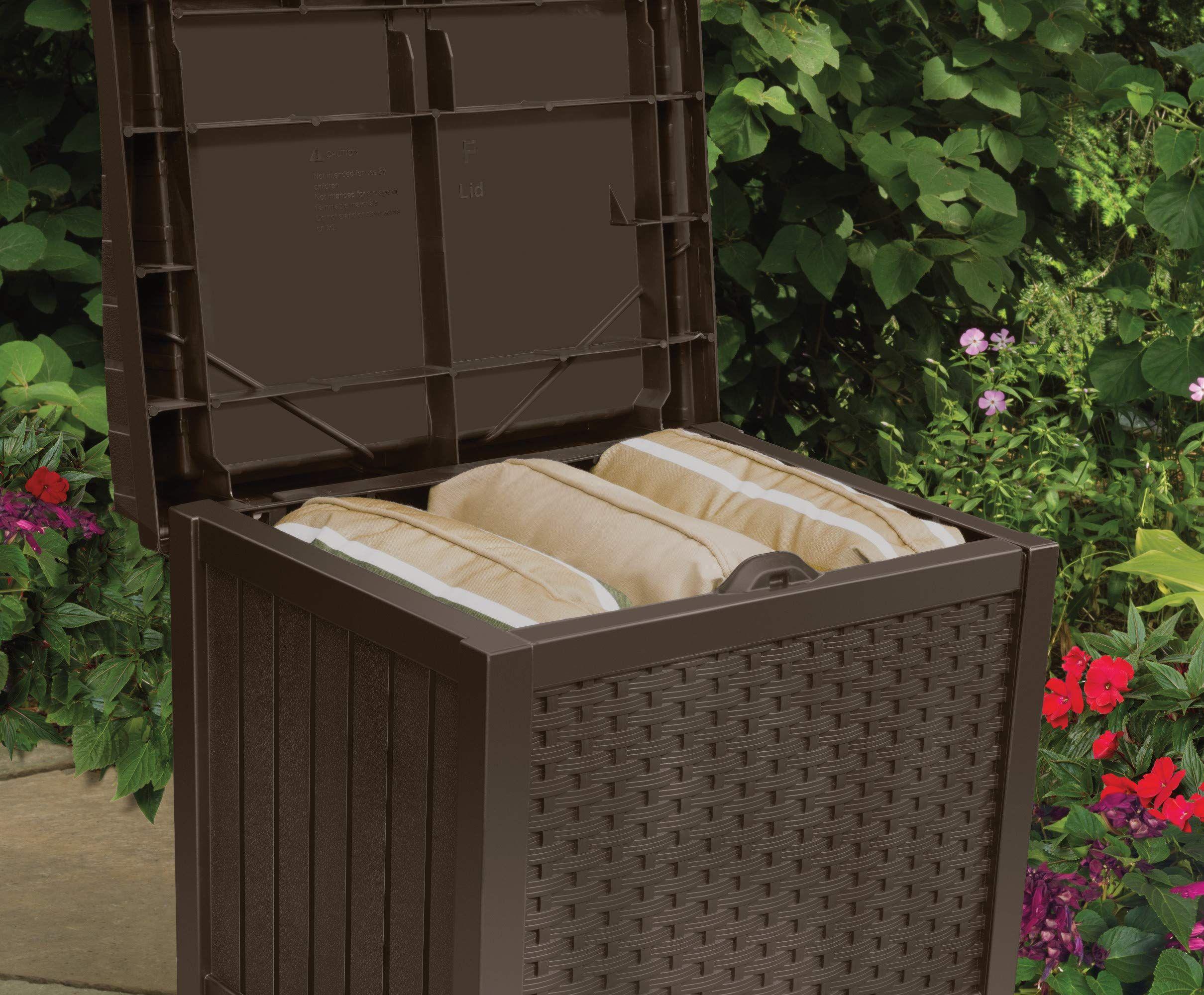 Suncast 22 Gallon Small Deck Box Lightweight Resin Indoor