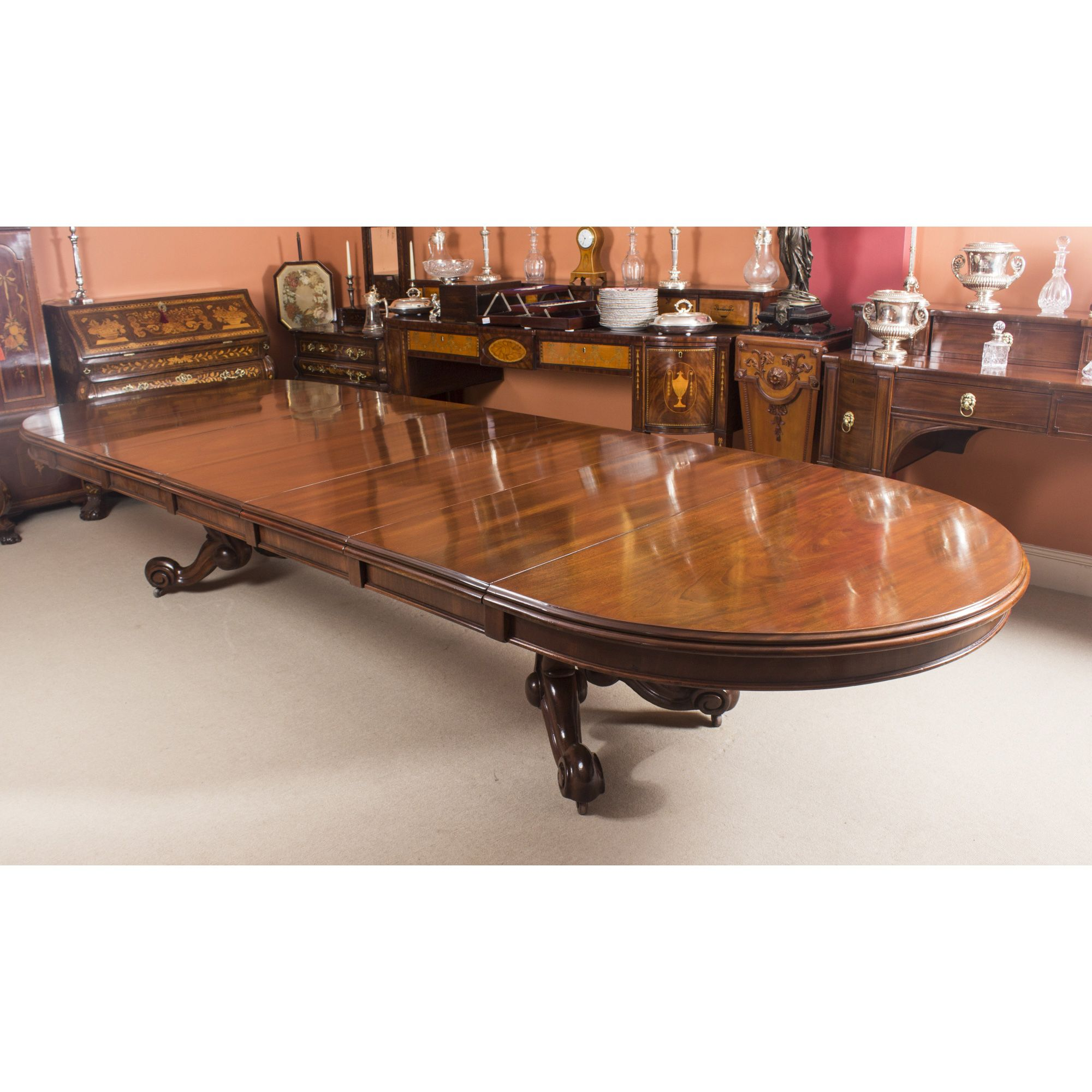 52dd744aaecb4 Antique Victorian 14 ft Mahogany Twin Base Extending Dining Table ...