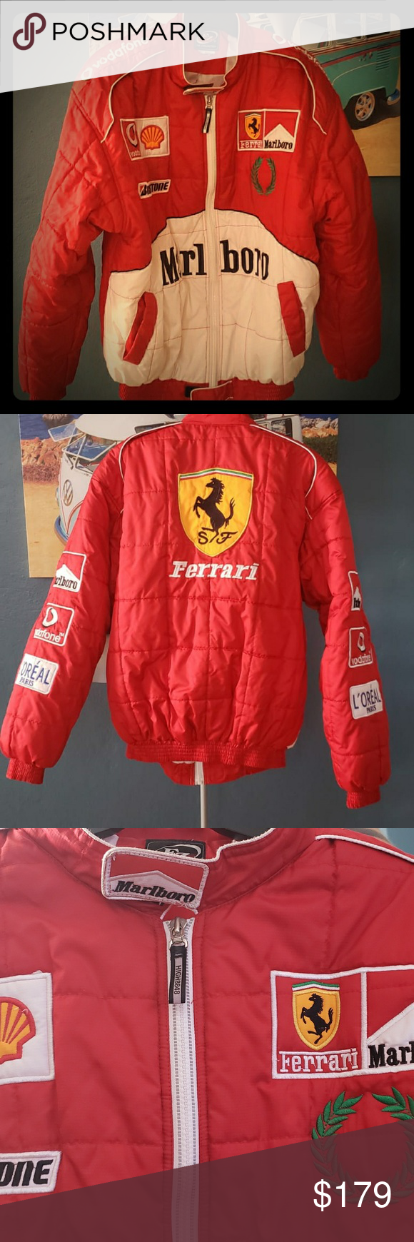 Vintage Fz Ferrari Marlboro Loreal Jacket Vintage Fz The Collection Ferrari Marlboro Loreal Jacket F1 Red Racing Cond Clothes Design Jackets Fashion Design