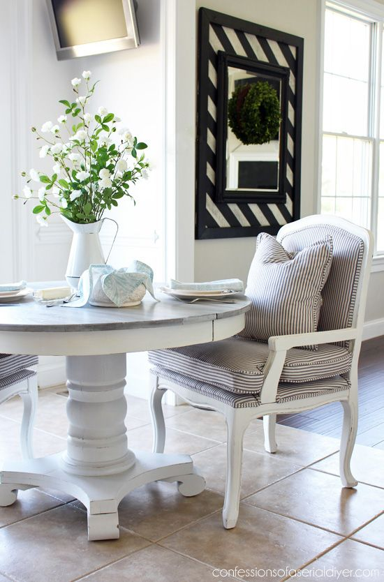 Whitewashed Pedestal Kitchen Table From Confessionsofaserialdiyer This Is The Finished Product Of