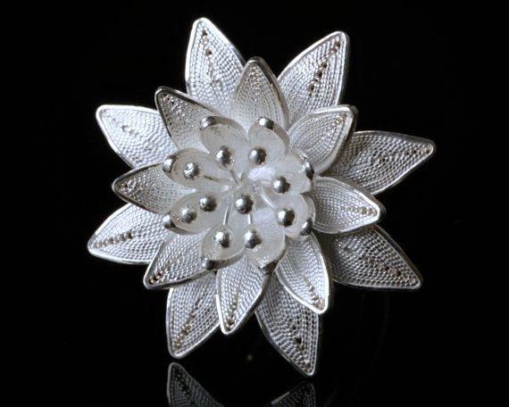 925 Sterling Silver Filigree Lotus Flower Adjustable Ring Size, Sterling Silver Ring #etsy #BMRTG