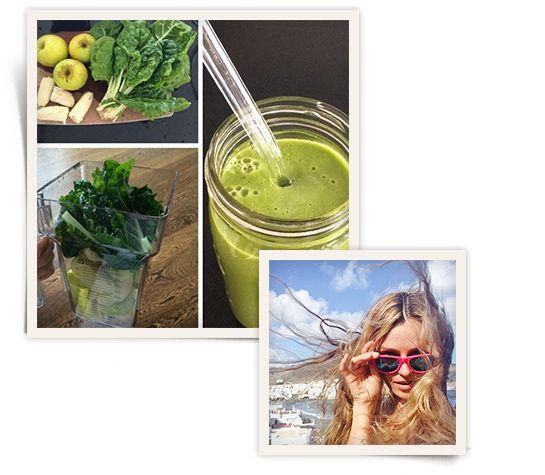 """Le smoothie """"petit déj"""" de Valentina Zelyaeva http://www.vogue.fr/beaute/exclu-vogue/diaporama/recettes-jus-smoothies-cocktails-mannequins-tops-fruits-legumes/20082/image/1044200"""