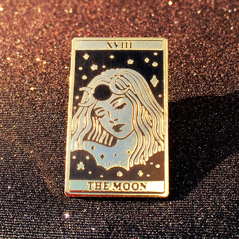 The Moon Pin The Moon Tarot Enamel Pins Art