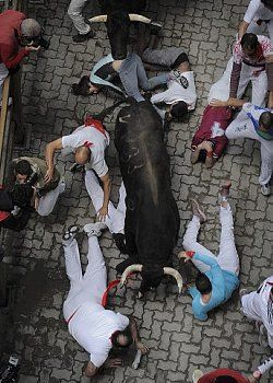 Fifth day of running of the bulls in Pamplona, Spain Fecha de la fotografía: 11 de julio de 2014 Sanfermines