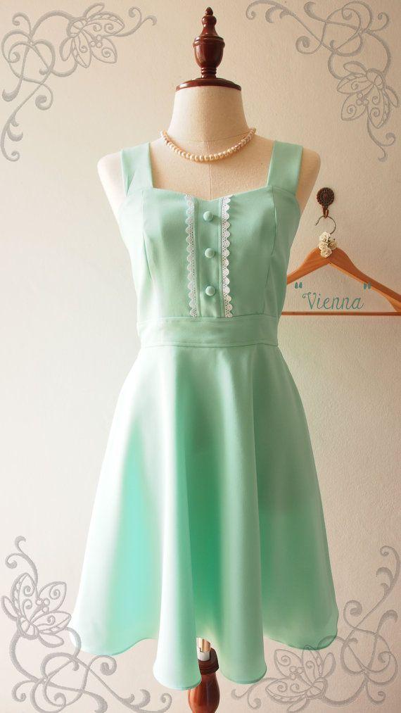Mintgrün Kleider La La Land Stil Mint Grün Vintage Sommerkleid ...