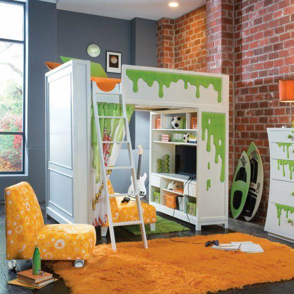 kinderzimmer gestalten ziegelwand spielbett oranger teppich sessel