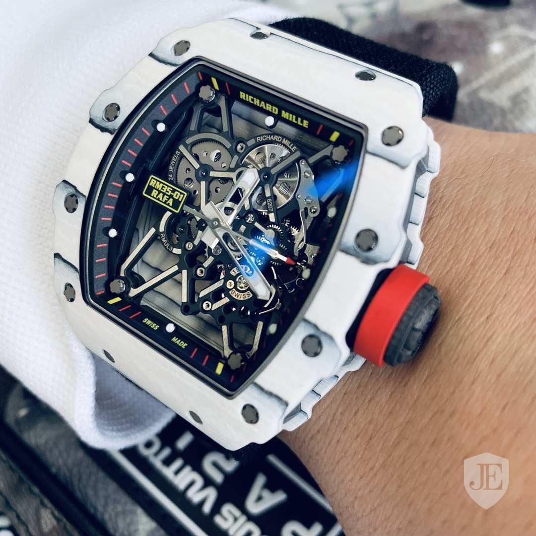 Richard Mille Rm 35 01 White Tpt Carbon Rafael Nadal Last Edition Richard Mille Richard Mille Watches Richard Mille Watches Skull