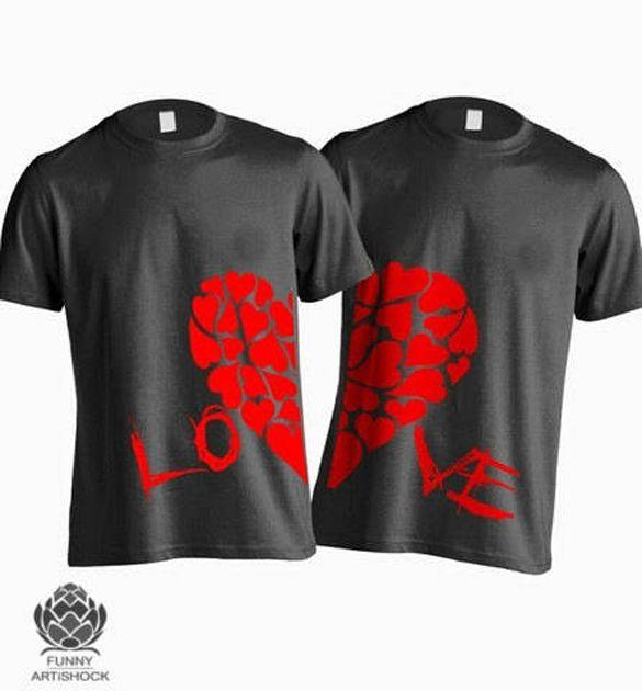 c9781a57eb Korean Style Couple T Shirts Matching Half Heart Set of 2   Cute Couple T- Shirts   Couple shirts, Shirts, Couple t shirt design