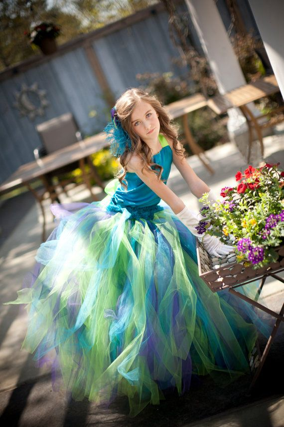 Vintage Peacock Flower Girl Dresses