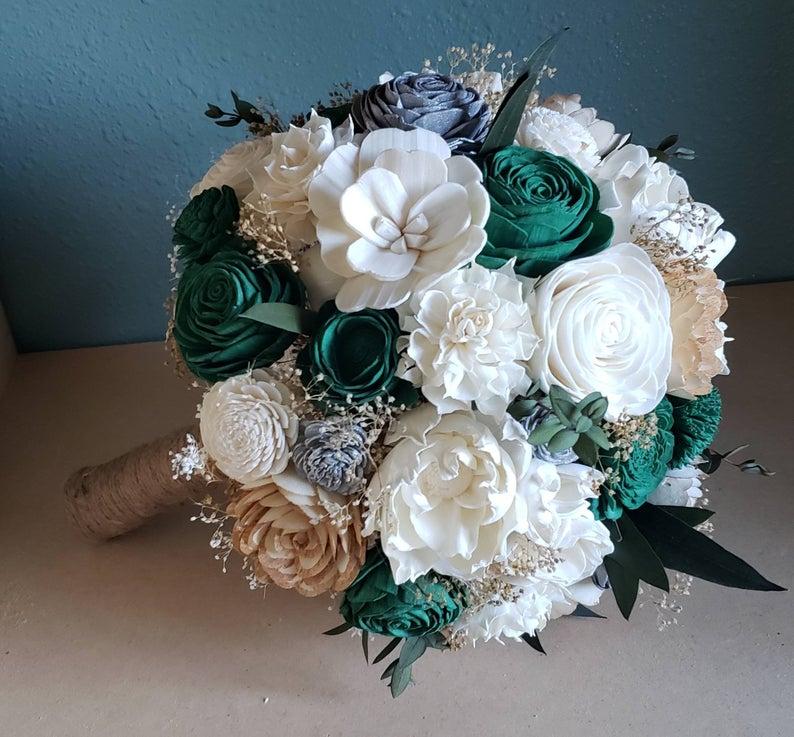 Emerald Green Sola Flower Bouquet Wooden Flower Bouquet Etsy Flower Centerpieces Wedding Sola Flower Bouquet Faux Flowers Wedding