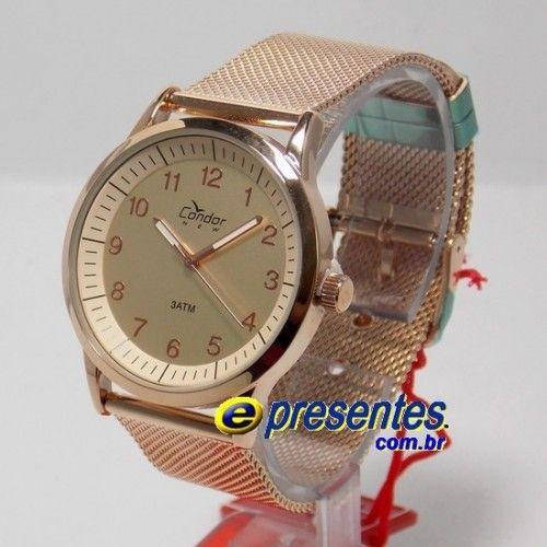 11fe7ab9c97 KI89004H Relógio Condor Analógico Feminino Rose Gold