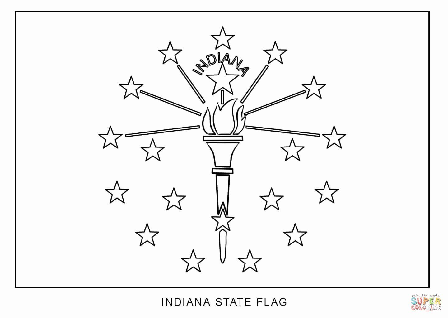 Indiana State Flag Coloring Page New Flag Of Indiana Coloring Page