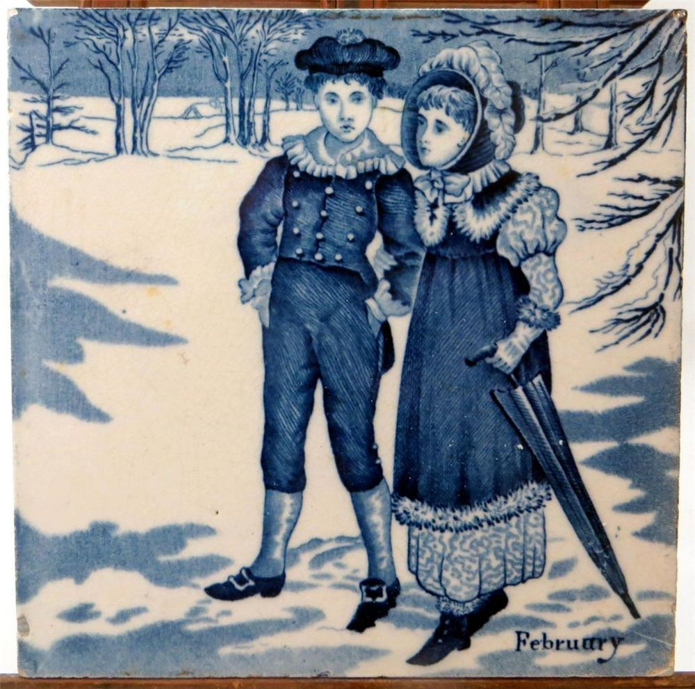 "Beautiful Victorian designs...19thC Wedgwood Blue/White Underglaze 6"" Months Tile February (2 of 12) 1880 - ebay £9.95"
