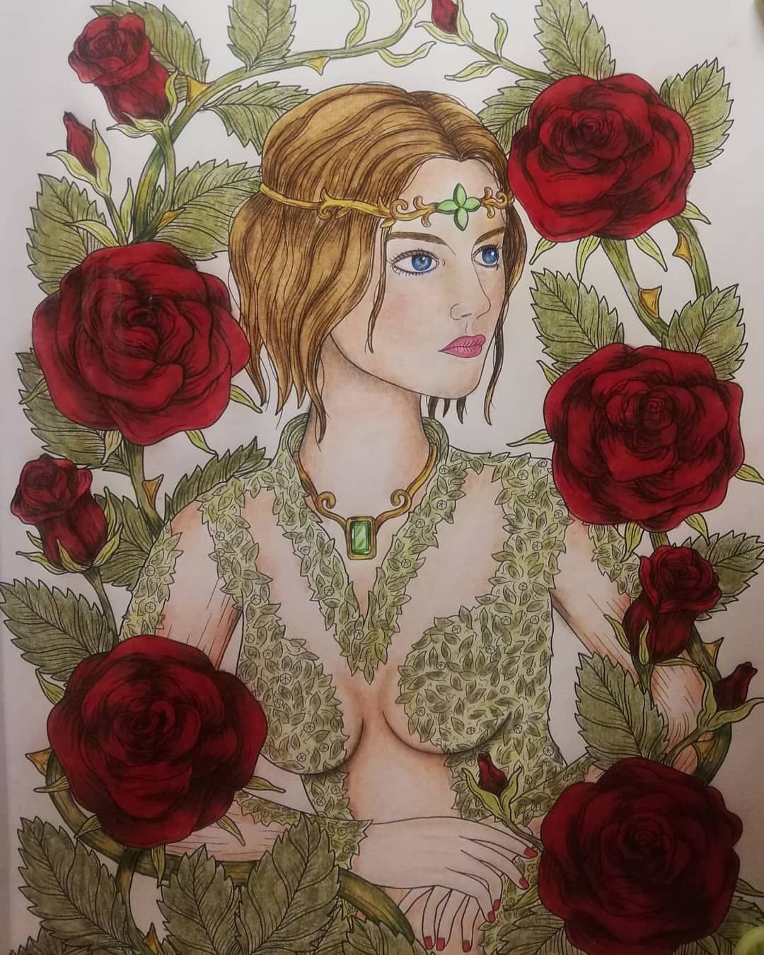 Fantastic coloring of of thorns roses by vero lousberg