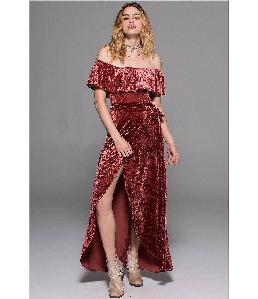 6183f54571d9 Band Of Gypsies Crushed Velvet Wrap Skirt
