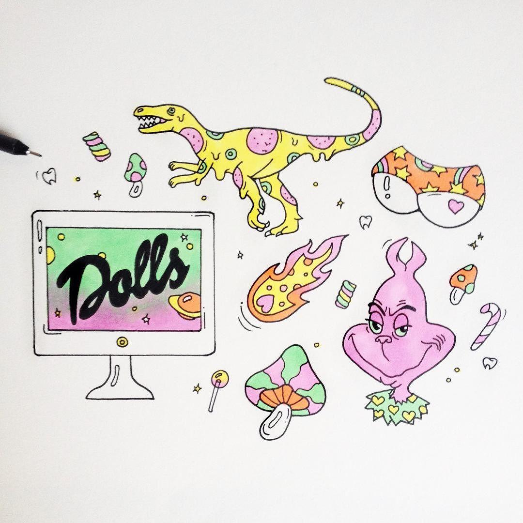 sunnysideyup:  Some late night sketching ✨ #xmas #mood #pizza #dinosaur #thegrinch #comet #mushroom #magic #dolls #candy #butt #panty #doodle #illustration #elfriede_s by elfriede_s http://ift.tt/1MmpHPL