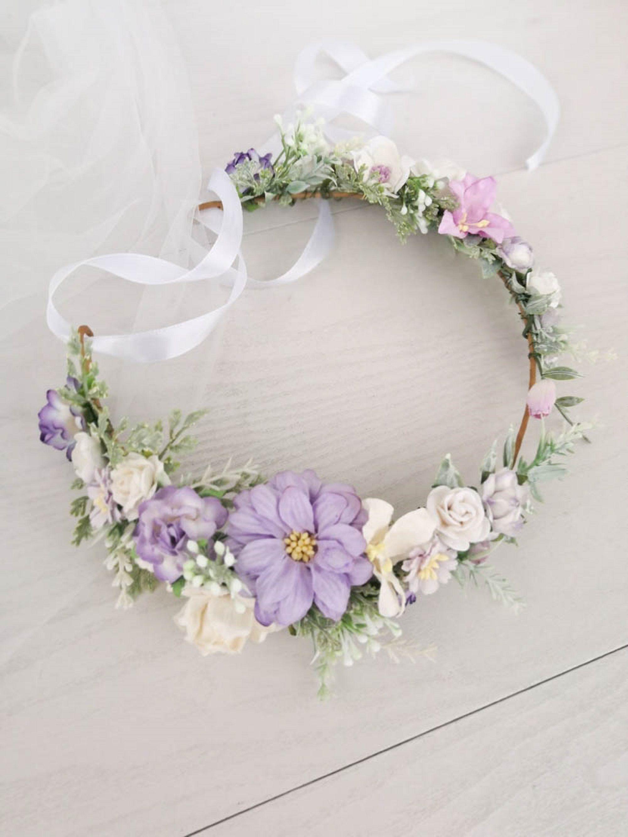 Purple lavender crown bridal flower crown wedding hair accessories headpiece floral wreath boho rustic bridal wreath lavender hair piece