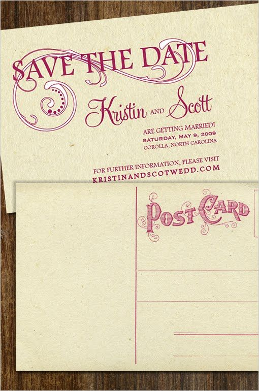 Vintage Swirl Save the Date Free Postcard Template Downloads - free postcard template download
