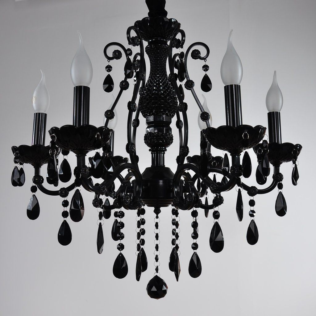 6 8 Lights Black Glass Crystal Candle Style Chandelier Up Light